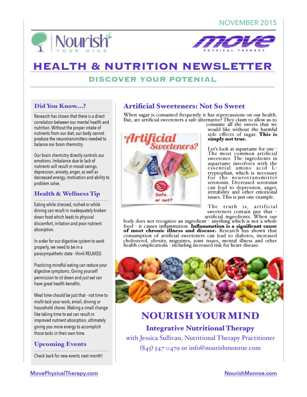 Nourish Your Mind November Newsletter - Page 1